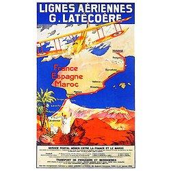 Affiche Air France Lignes Latécoère 63x100 A315