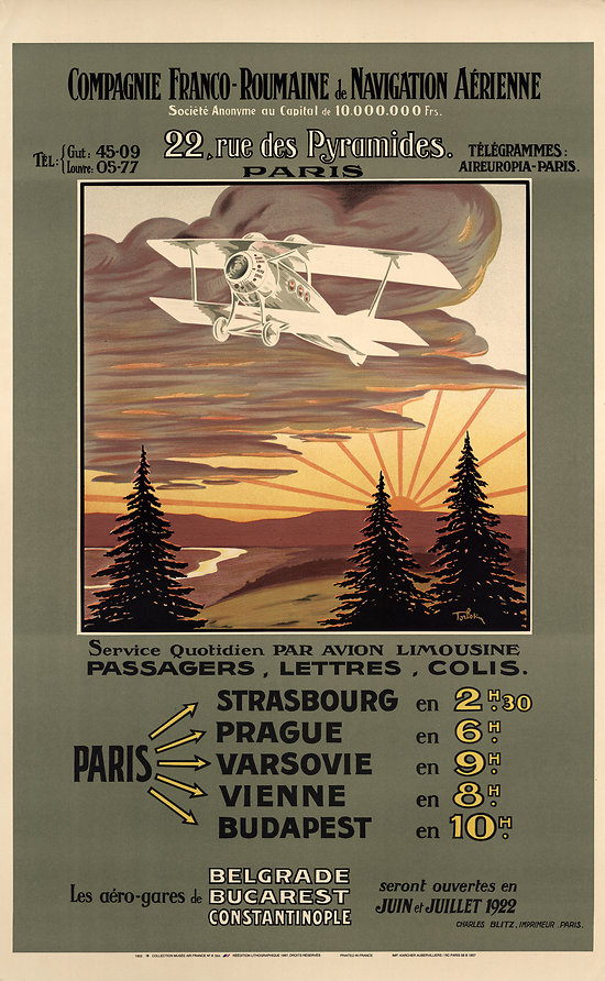 Affiche Air France Franco Roumaine 63x100 A564
