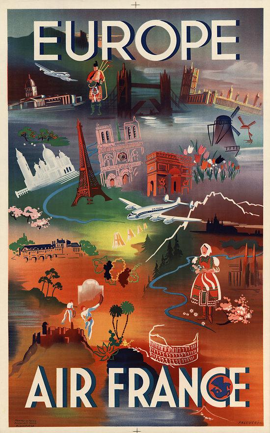 Carte postale Air France Europe A028