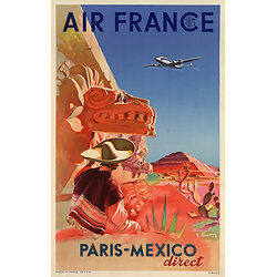 Carte postale Air France Paris Mexico