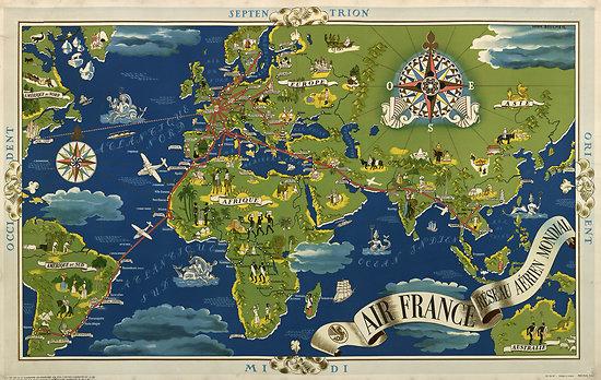 Planisphère Air France L. BOUCHER 1937 63x100 A142
