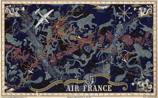 Planisphère Air France L. BOUCHER 1938-1939 63x100 A283