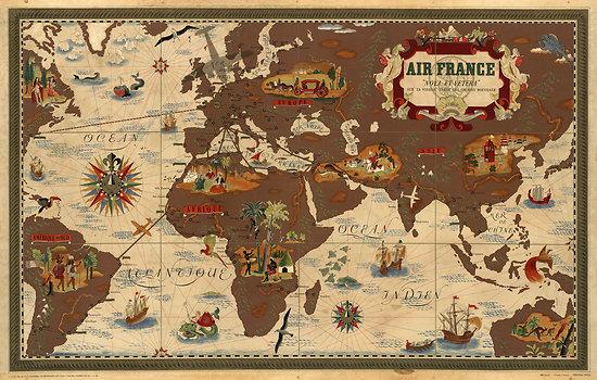 Planisphère Air France L. BOUCHER 1938-1939 63x100 A569