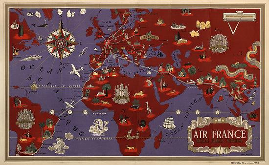 Planisphère Air France rouge 1935 63x100 A183