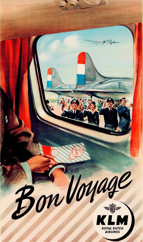 Affiche KLM Bon Voyage 1951 50x70 AK05