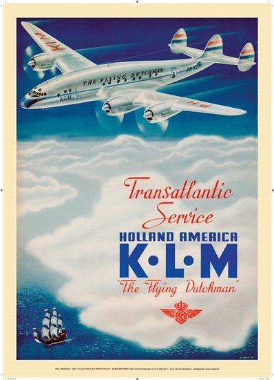 Affiche KLM Holland America 1946 50x70 AK03