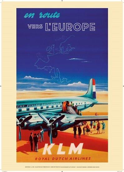 Affiche KLM Europe 1950 50x70 AK04