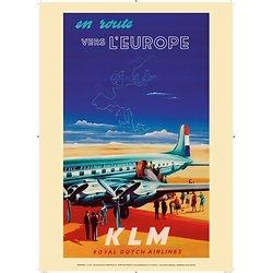 Affiche KLM Europe 1950