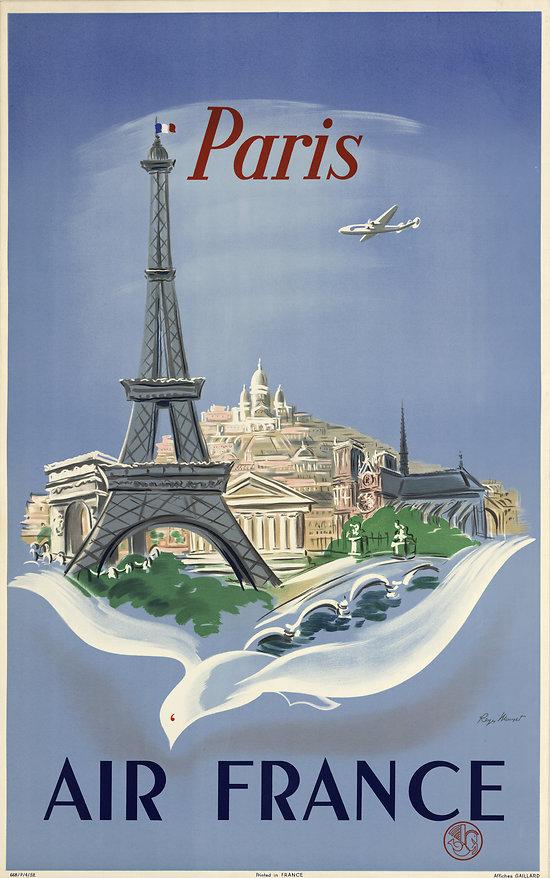 Affiche Air France Paris Tour Eiffel 50X70 MAF058