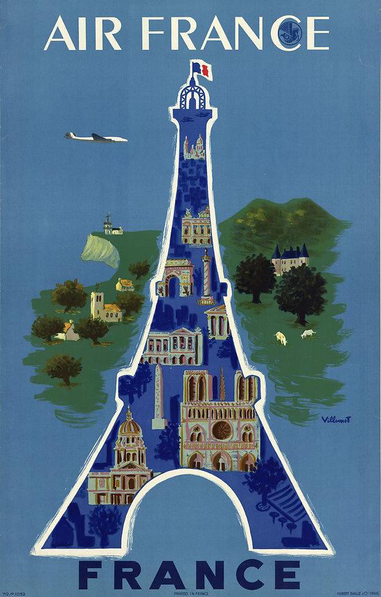 Affiche Air France Tour Eiffel 50X70 MAF063