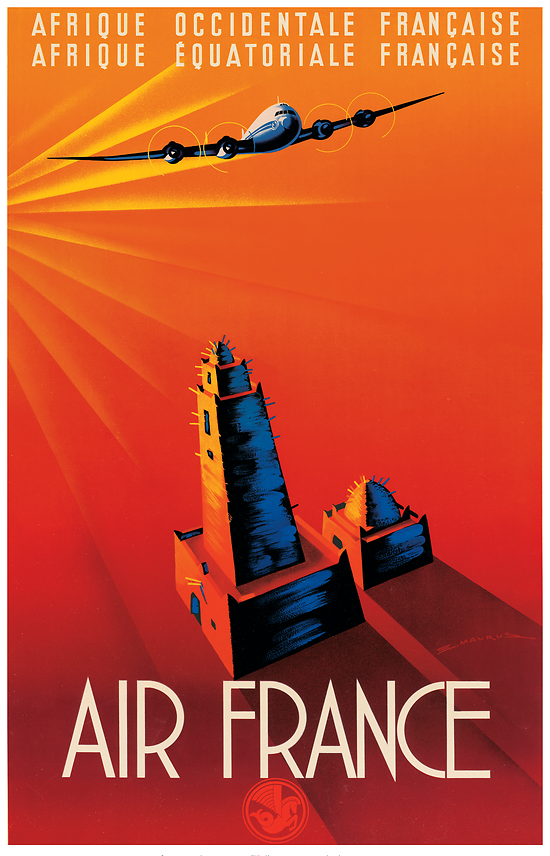 Affiche Air France Afrique Occidentale & Equatoriale 50X70 MAF023