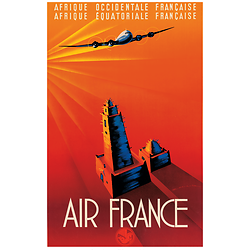 Affiche Air France Afrique Occidentale & Equatoriale 50X70 MAF023