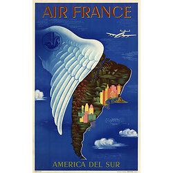 Affiche Air France Amérique du Sud 50X70 MAF046