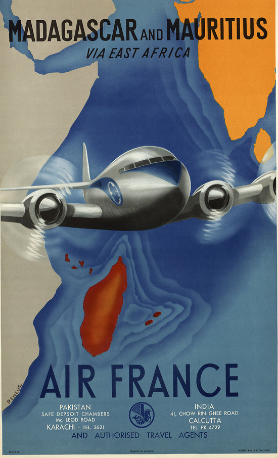Affiche Air France Madagascar & Île Maurice 50X70 MAF278