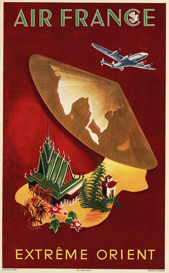 Affiche Air France Extrême Orient 50X70 MAF326