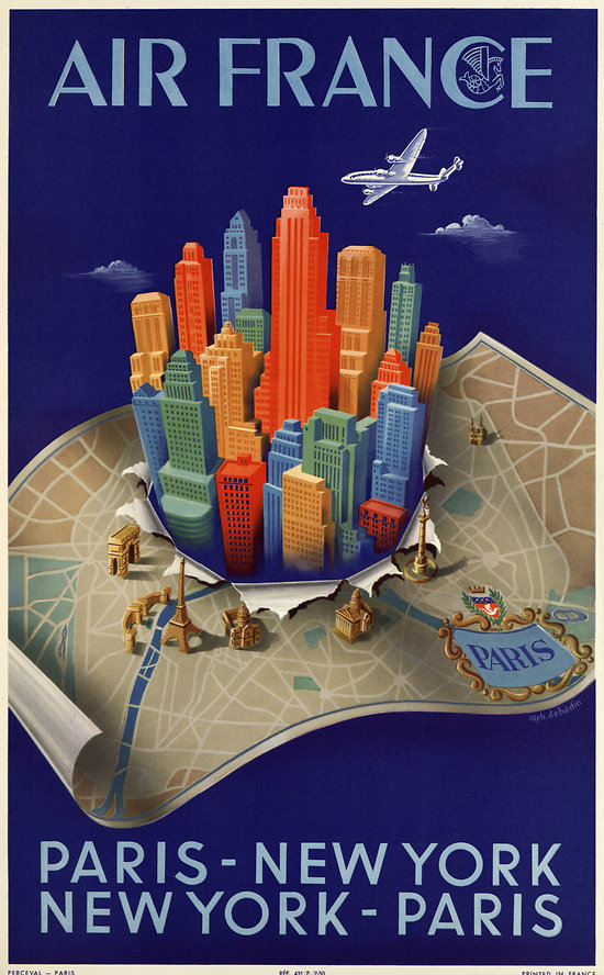 Affiche Air France Paris New-York 50X70 MAF329