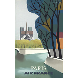 Affiche Air France Paris Notre Dame 50X70 MAF095
