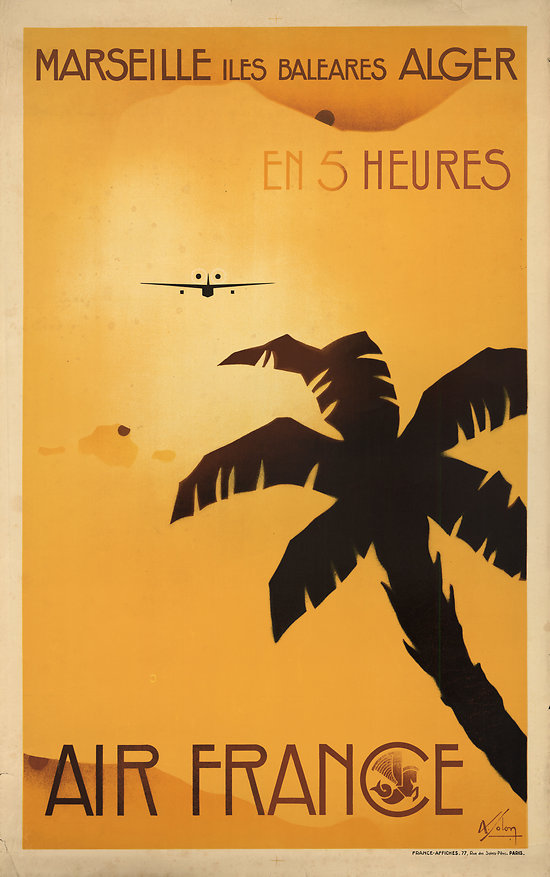 Affiche Air France Marseille Alger Papier Vergé A003