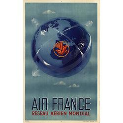 Affiche Air France réseau aérien mondial Papier Vergé A032
