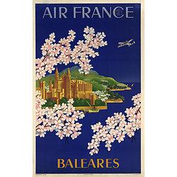 Affiche Air France Baléares Papier Vergé A051