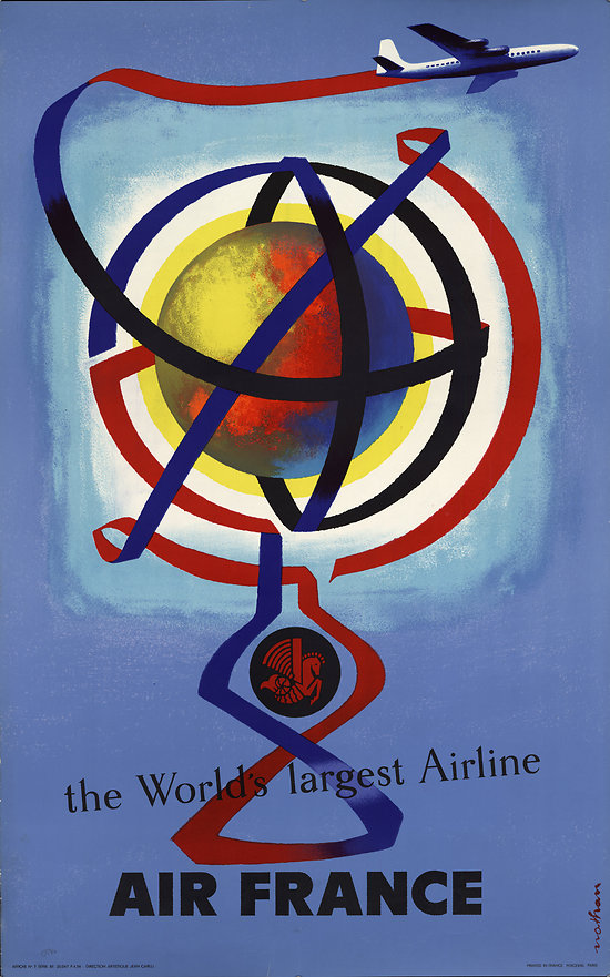 Affiche Air France the world's largest airline Papier Vergé A071