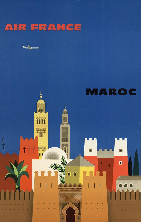 Affiche Air France Maroc Papier Vergé A092