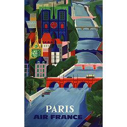 Affiche Air France Paris Notre Dame en bleu Papier Vergé A106