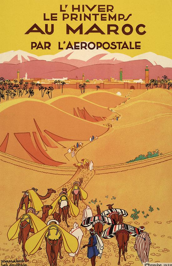 Affiche Aéropostale au Maroc (dunes) Papier Vergé A151