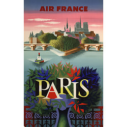 Affiche Air France Paris Notre Dame (arbre premier plan) Papier Vergé A231
