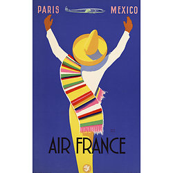 Affiche Air France Paris Mexico Papier Vergé A307