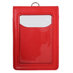 Porte-Badge cuir rouge