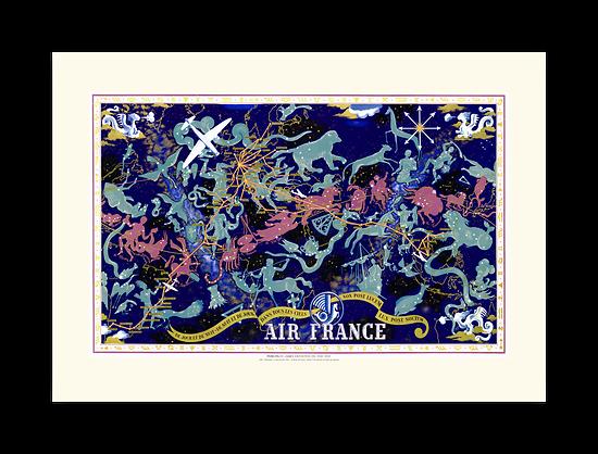 Affiche Air France MAPPEMONDE Céleste