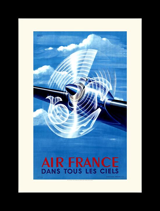 Affiche Air France Dans tous les ciels Hélice A033