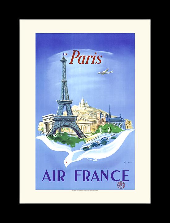 Affiche Air France Paris Tour Eiffel, colombe A058