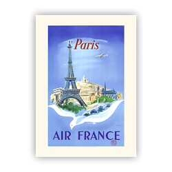 Affiche Air France Paris Tour Eiffel, colombe A058