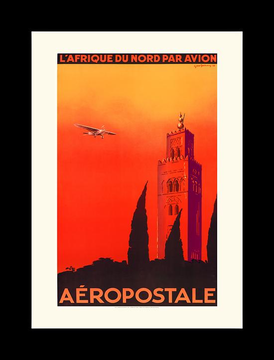 Affiche Aéropostale L'Afrique du Nord par avion A136