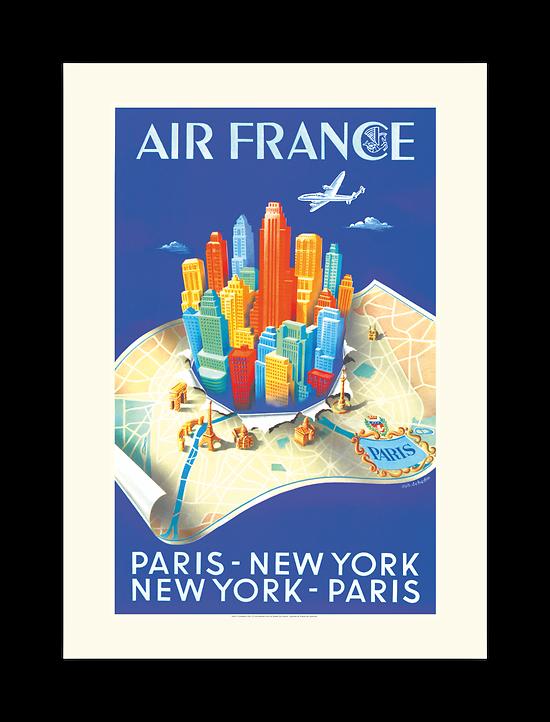 Affiche Air France Paris New-York Building map A329
