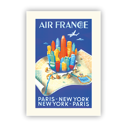 Affiche Air France Paris New-York Building map A329