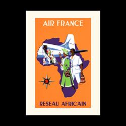 Affiche Air France Réseau Africain A422