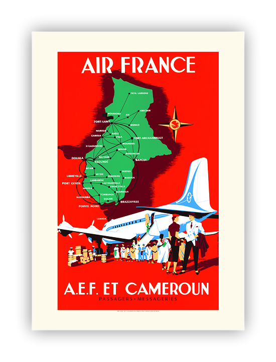 Affiche Air France AEF et Cameroun A429