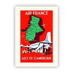 Affiche Air France AEF et Cameroun A429