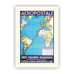 Affiche Aéropostale Poste-Passagers-Messageries A565