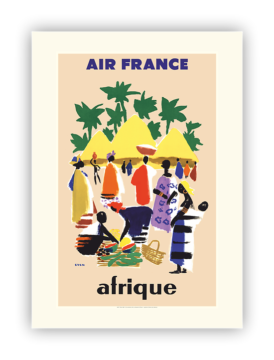Affiche Air France Afrique - Cases Village A087