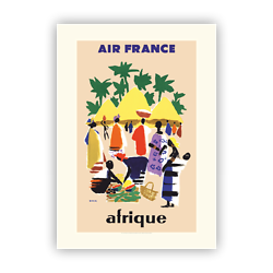 Affiche Air France Afrique - Cases Village A087