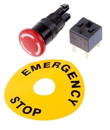 Bouton arrêt urgence IP65 ø24mm