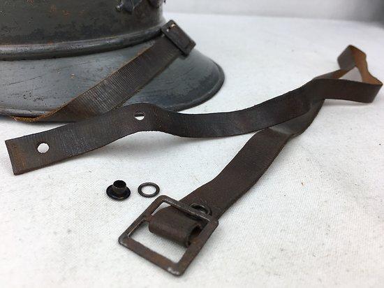 Jugulaire cuir marron vieilli - casque Adrian Mod 1915 - WW1