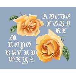 Alphabet aux roses thé diagramme noir et blanc