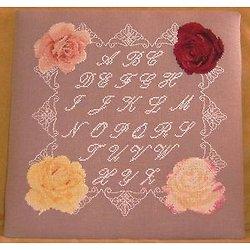 Alphabet roses et dentelle diagramme noir et blanc