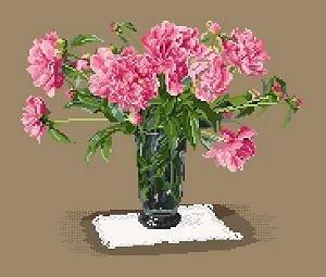 Bouquet de pivoines diagramme noir et blanc