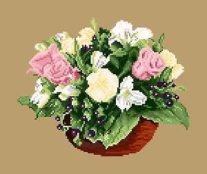 Bouquet de printemps diagramme noir et blanc